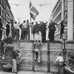 Barrikade på Nørrebrogade under folkestrejken juli 1944